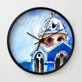 Blue Chapel Santorini Greece Wall Clock