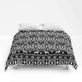 Pitbull fair isle christmas holidays black and white dog breed silhouette pattern Comforters