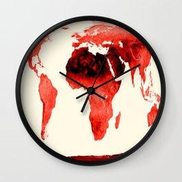 World Map brick red Wall Clock