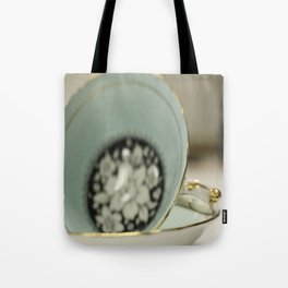 Blue Flowered Teacup Tote Bag