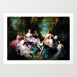 """Franz Xaver Winterhalter's masterpiece """"The Empress Eugenie surrounded by her Ladies in waiting"""" Art Print"""