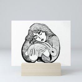 Woman with Rabbit Mini Art Print