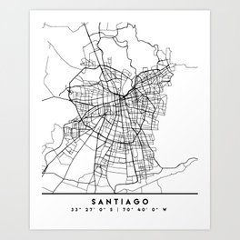 SANTIAGO DE CHILE BLACK CITY STREET MAP ART Art Print