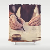 writing Shower Curtains featuring hand writing by Zsolt Kudar