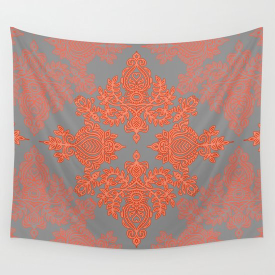 Burnt Orange Coral & Grey doodle pattern Wall Tapestry by