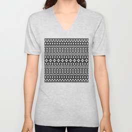 Aztec Essence Pattern II White on Black Unisex V-Neck