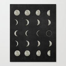 Moon Phases, Black White Decor, Bohemian, Magic, Lunar Cycle Canvas Print
