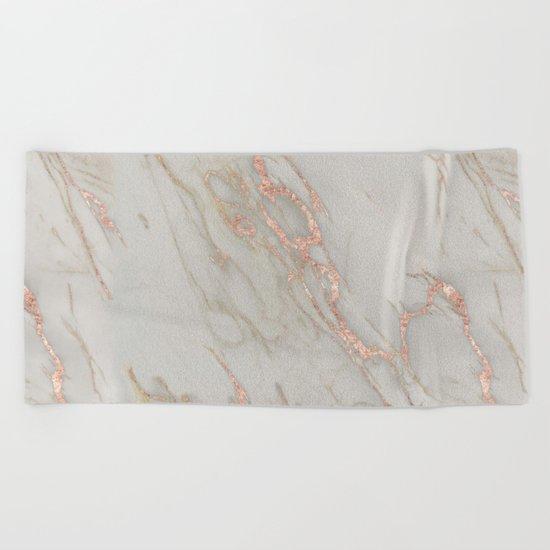 Marble - Rose Gold Marble Metallic Blush Pink Beach Towel