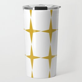 Starburst Pattern Atomic Age Minimalism in Mustard Yellow and White Travel Mug