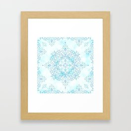 Moroccan Mandala in Blue and Mint Framed Art Print