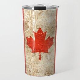 Vintage Aged and Scratched Canadian Flag Travel Mug