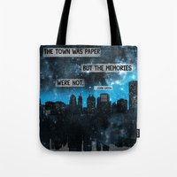 paper towns Tote Bags featuring Paper Towns John Green Quote by denise