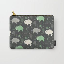 Seamless pattern with cute baby buffaloes and native American symbols, dark gray Carry-All Pouch