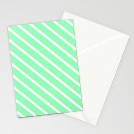 Mint Diagonal Stripes Stationery Cards