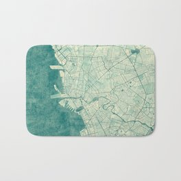 Manila Map Blue Vintage Bath Mat