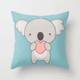 Kawaii Cute Koala Bear Throw Pillow