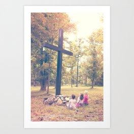 Worship At The Cross Art Print