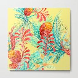 Kitsch Tropical Plants Metal Print