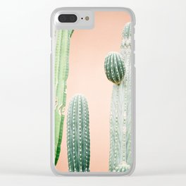 Botanical photo of green cactuses with a pastel orange background | Fine art film photography Clear iPhone Case