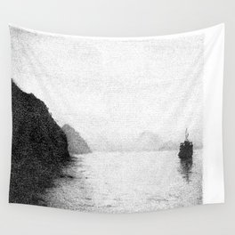 Water, Mountain and Boat Wall Tapestry
