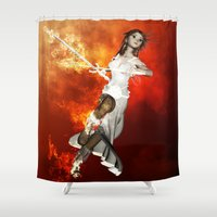 manga Shower Curtains featuring Manga girl with swords by nicky2342