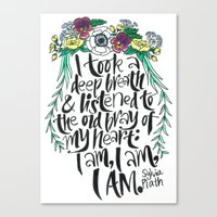 sylvia plath Canvas Prints featuring Hand-lettered Sylvia Plath quote with flowers by to florence with love