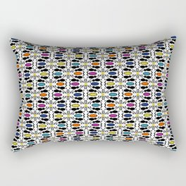 Ethnic style pattern wax, geometric abstract shapes colorful, large round purple, khaki, blue,orange Rectangular Pillow