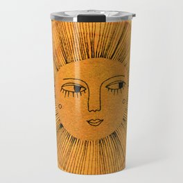 Sun Drawing Gold and Blue Travel Mug
