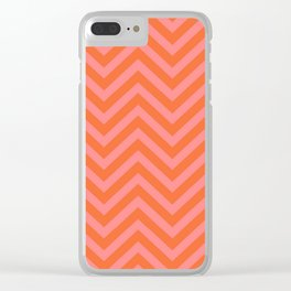 Japanese Seigaiha Wave - Pink And Orange Palette Clear iPhone Case