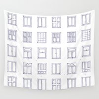 sketch Wall Tapestries featuring windows sketch by Anna Grunduls