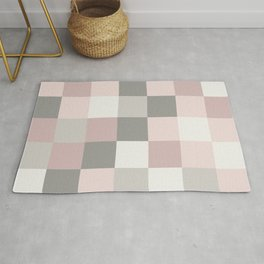 Dusty Rose, Rose and Grey Squares Rug