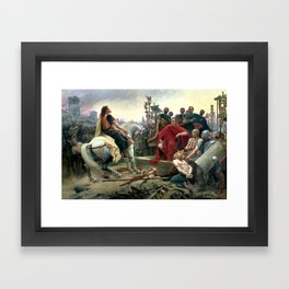 Vercingetorix Throws Down His Arms At The Feet Of Julius Caesar Framed Art Print