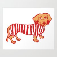 daschund Art Prints featuring Sausage Dog by sophieheywood
