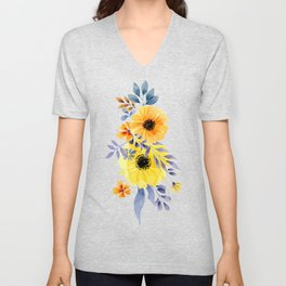 FLOWERS WATERCOLOR 10 Unisex V-Neck