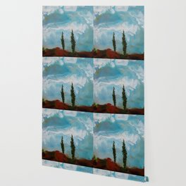 Cypress Trees encaustic wax painting by Seasons Kaz Sparks Wallpaper