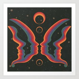 Rainbow Butterfly People Art Print
