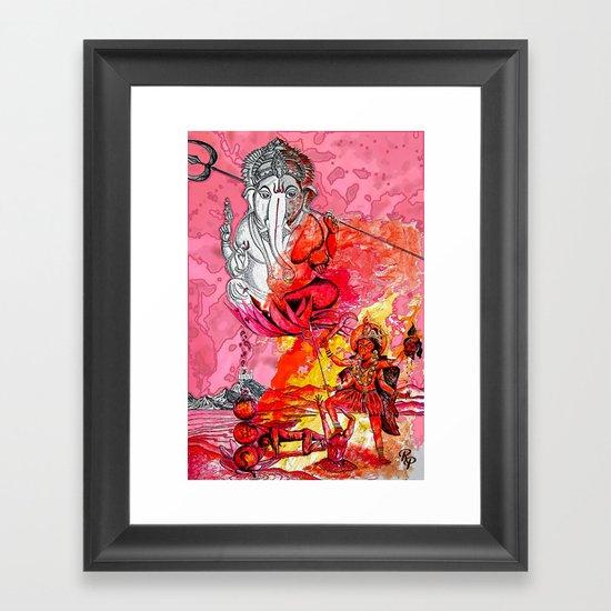 Ganesh vs Kali Framed Art Print