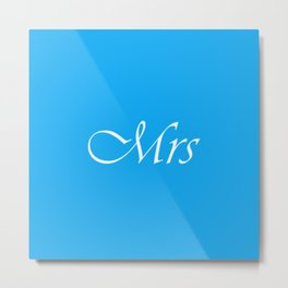 Mrs Monogram : Sky Blue Metal Print