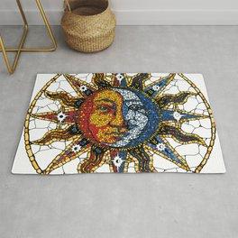 Celestial Mosaic Sun and Moon COASTER Rug