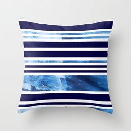 Indigo Modern Stripes Throw Pillow