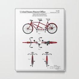 Tandem Bicycle Patent Metal Print
