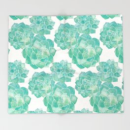Rosette Succulents – Mint Palette Throw Blanket