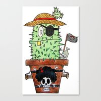 luffy Canvas Prints featuring Cactus Luffy by Vania Pietronigro