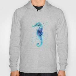 Blue Turquoise Watercolor Seahorse Hoody