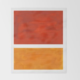 Burnt Orange Yellow Ochre Mid Century Modern Abstract Minimalist Rothko Color Field Squares Throw Blanket