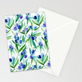 Olive Greek Mediterranean Watercolor Pattern Stationery Cards