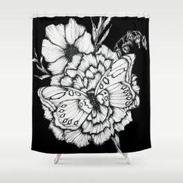 Black Flutter Shower Curtain