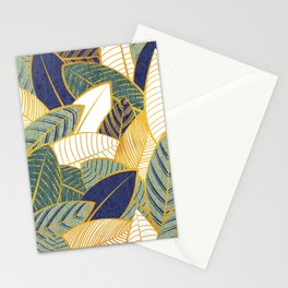 Leaf wall // navy blue pine and sage green leaves golden lines Stationery Cards