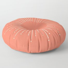 Simply Sunburst in Deep Coral Floor Pillow