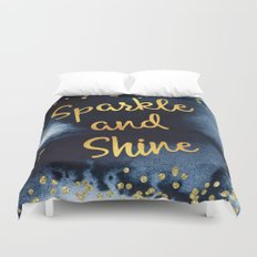 Sparkle And Shine Gold And Black Ink Typography Art Duvet Cover